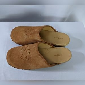 L.L. Bean Shoes - LL Bean Brown Suede Clog Mules Perforated Design